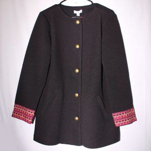 NWT Susan Graver Ribbed Knit Button Front Jacket